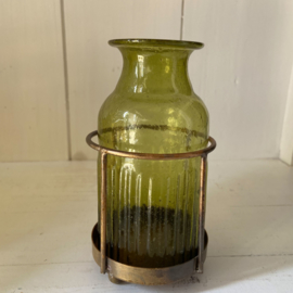 Candle Lantern with green glass