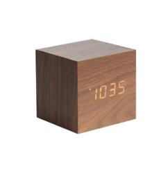 Karlsson - Mini cube alarmklok 8 x 8 cm - Houtkleur
