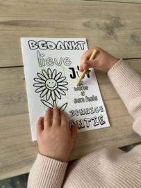 "Juffen cadeau ""Kleurplaatkaart XL + zonnebloemzaadjes"""