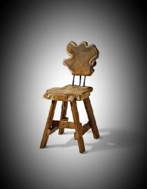 Stoere houten stoel authentiek 40x45x85