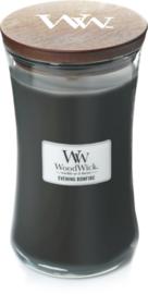 Woodwick Candle Large Evening Bonfire (De geurbeleving van Evening bonfire is de uitnodigende geur van warm hout, die je brengt naar een koude nacht om een smeulend vuur, samen met je geliefden)
