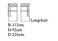 Longchair arm Links 113 cm breed x 226 cm