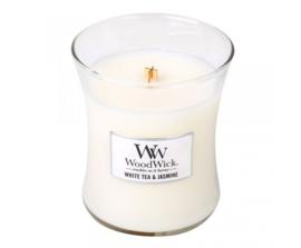 Woodwick Medium Candle White tea & Jasmine (pure witte thee, met een beetje jasmijn wat heel fijn combineert met de geuren van rood ceder en roos)