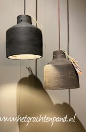 1930 Hoffz Hanglamp keramiek Dusty grey (links) H 18x16