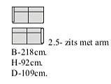 2,5 zits met armleuning Links 218 cm breed