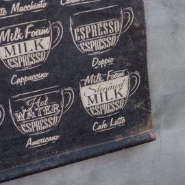 Koffie soorten kaart op stok maat 64x83