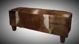 Bank met geitenhuid 110x30x40 teak houten poten