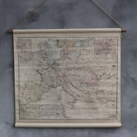 Europa landkaart op linnen jute rol houten stok maat  90 x 73