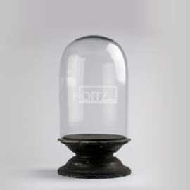 Hoffz glazen stolp 1335 op voet groot maat 33x64  antique black