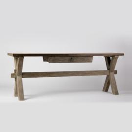 Hoffz side table X-poot patina maat 160x 40/50 x 78