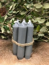 Kaarsen 7 stuks kleur donker grijs 11 cm