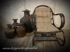 Hoffz Kamil rieten relax stoel met kussen maat l104x b70 x h87