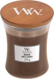Woodwick Medium  Candle humidor (is een heerlijk unieke geur die een mix van tabaksbladeren, zacht suède en perzikbloesem samenbrengt)