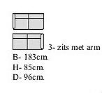 3 zits met armleuning links 183 cm