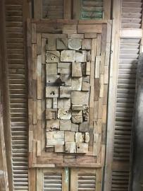 Wandpaneel 110x60x10 hout ornament (uniek geen 1 hetzelfde)