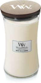 Woodwick Large Candle White tea & Jasmine (pure witte thee, met een beetje jasmijn wat heel fijn combineert met de geuren van rood ceder en roos)