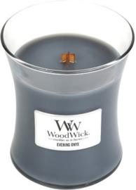 Woodwick Medium Candle Evening Onyx (De geurbeleving van dit geurenpalet van jasmijnblad, zwarte orchidee en sandelhout is een mysterieuze traktatie voor de zintuigen)