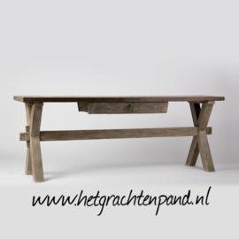 Sidetable x-poot patina met lade  (oud geleefd hout) W200 x D40/50 x H74 cm