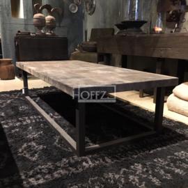 Salon tafel Leer bruin/staal maat 160x75