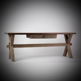 Sidetable X poot patina (oud geleefd hout) met lade W160 x D40/50 x H74 cm