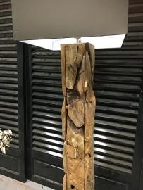 Driftwood lamp zonder kap vierkant (elke lamp is uniek)