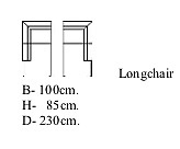 Longchair breed 100 x diep 230 armleuning links