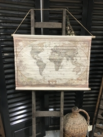 Wereld landkaart maat 90x60