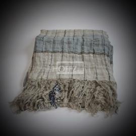 Plaid (65-2006) naturel /lichtblauwe streep + 15cm franje130x170cm