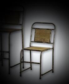 Industriele stoel met hout 47x53x85