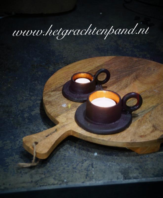 Brynxz Gietijzere  ring candle houder maat 4 cm (kleine op de foto)