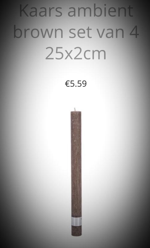 25x2 cm 1 kaars ambient in de kleur Wit/Lichtgrijs/ Donkergrijs/ Bruin of Zwart