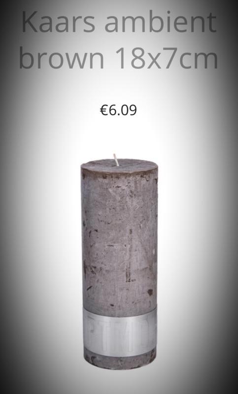 18x7 cm kaars ambient in de kleur Wit/Lichtgrijs/ Donkergrijs/ Bruin of Zwart