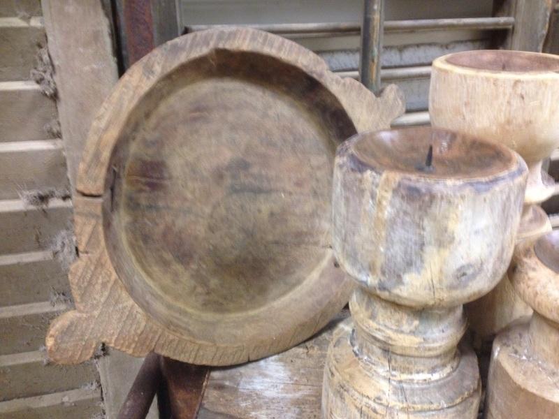 Oude houten Nepalese lage Schaal