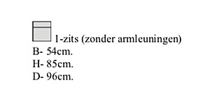 1 zits zonder armleuning 54 cm breed