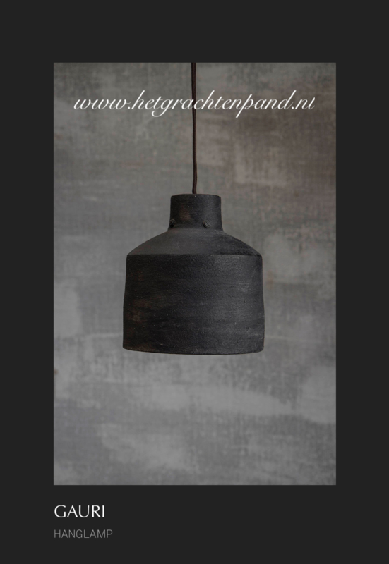 1930 Hoffz Hanglamp keramiek Dusty grey H 18x16