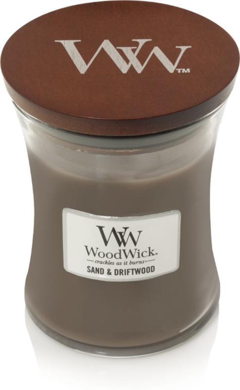 Woodwick Mini ong 20 uur Candle Sand & DriftWood (Dit geurenpalet een perfecte balans van zon gebleekt hout, zee gras en wit zand)