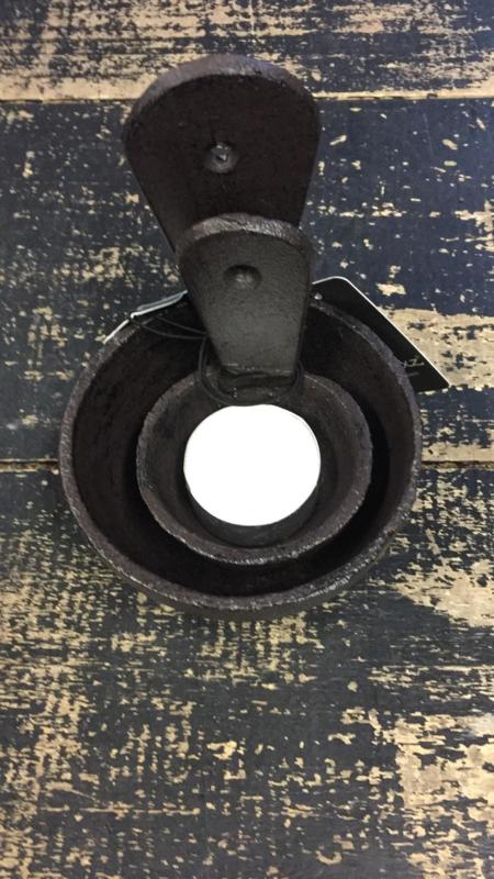 Waxine houder  gietijzer staand en hangbaar grote maat 9 cm