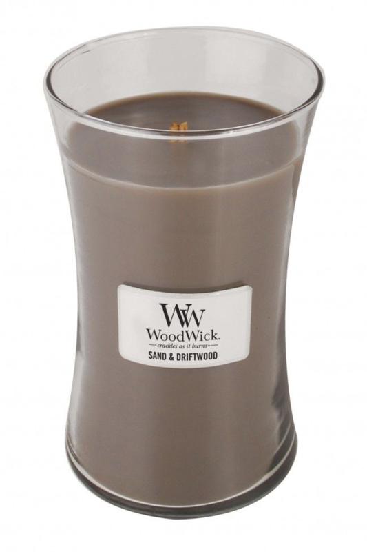 Woodwick Large Candle Sand & DriftWood (Dit geurenpalet een perfecte balans van zon gebleekt hout, zee gras en wit zand)