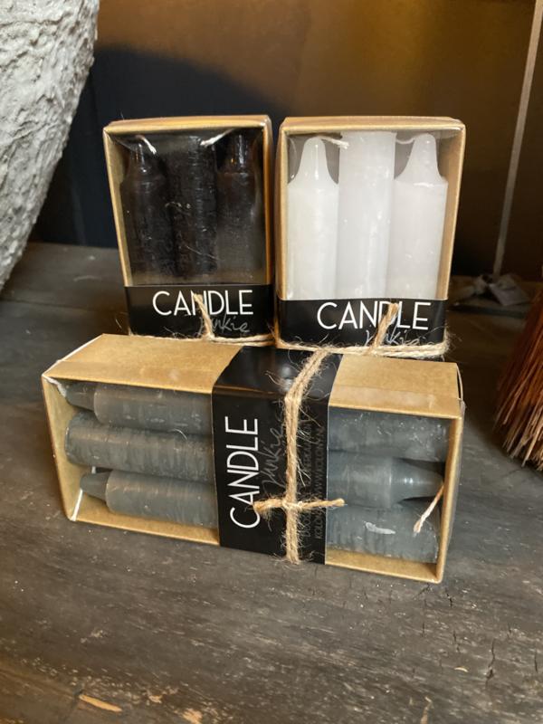 6 kaarsen in luxe verpakking kleur zwart ong 14cm hoog