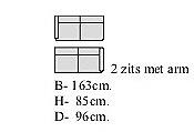 2 zit met armleuning rechts breed 163 cm