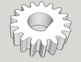 Tandwiel m1; 17 tanden voor 15W motoren