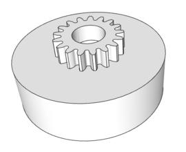 Aandrijving looprol met tandwiel M1; 17 tanden