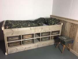 Kinderbed steigerhout Army 90 x 200 cm