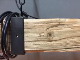 Industriële hanglamp van houten balk 150 cm