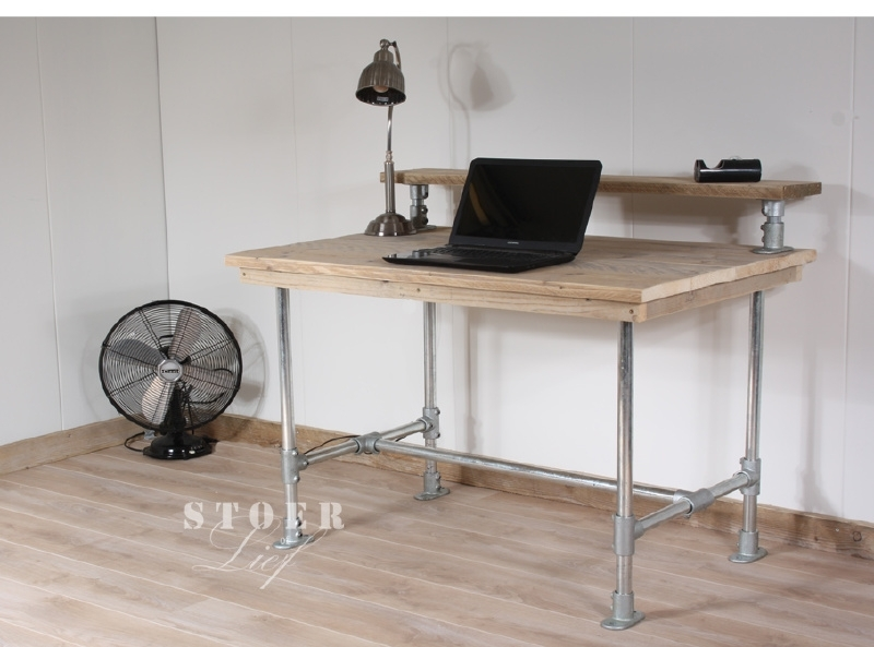 Steigerhouten bureau met opzetstuk 120x78x75 cm