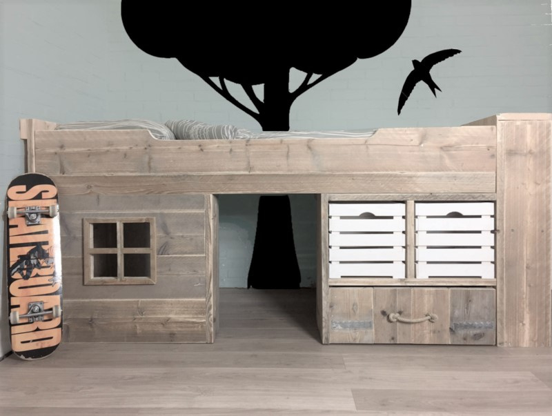 Kinderbed steigerhout Toms Hut  90 x 200 cm