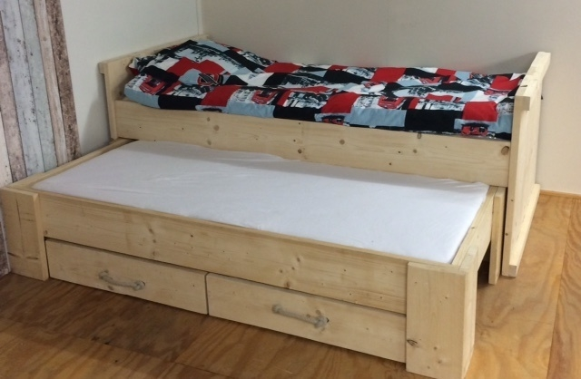 Kinderbed Met Extra Bed.Kinderbed Steigerhout Wesley 90 X 200 Cm Kinderbedden Puurhoutxl Nl