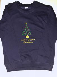 Sweater met glitter kerstprint