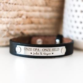 Leren armband graveren | Zwart