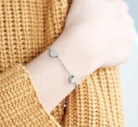 Meisjes initiaal armband | Hartjes armband
